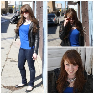 Leather jacket, blue top, flats